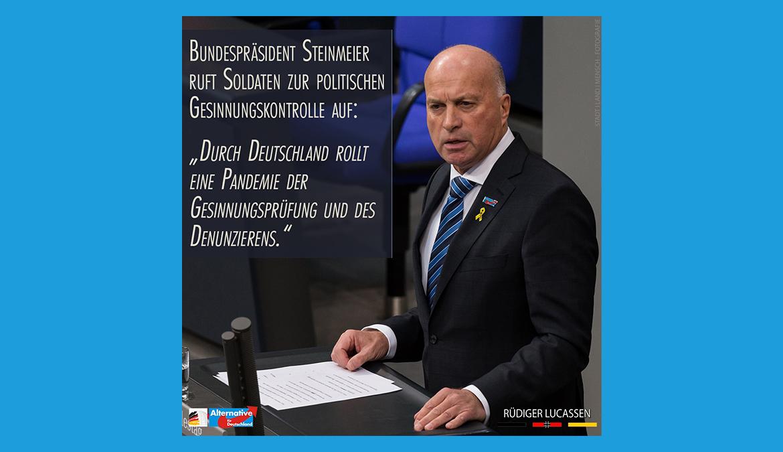 """+++ Frank-Walter Steinmeier fordert unsere Soldaten dazu auf, Kameraden bei """"politischer Unzuverlässigkeit"""" zu denunzieren. +++"""